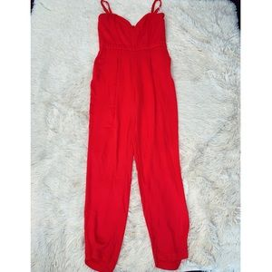 H&M red tapered leg jumpsuit with removable straps
